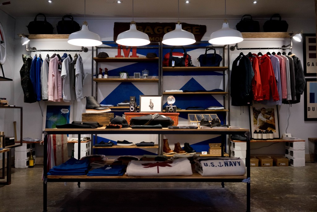 Interior of used clothing store