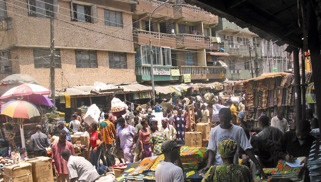Used clothing market in Lagos, Nigeria