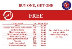 Buy one, get one free. Used clothes in bales promotion.