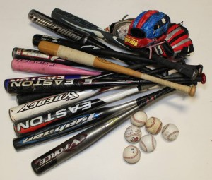 Baseball Bats Gloves and Balls